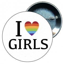 Chapa 58 mm I love girls - Gay - Bandera Gay - Orgullo gay - Pride