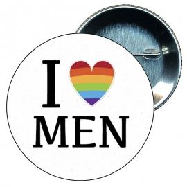 Chapa 58 mm I love men - Gay - Bandera Gay - Orgullo gay - Pride
