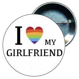 Chapa 58 mm I love my girlfriend - Gay - Bandera Gay - Orgullo gay - Pride