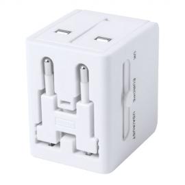 Adaptador de corriente 2 Salidas USB. 2100 mA. USA, Europa, Asia, Reino Unido