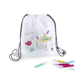Mochilas, bolsas, estuches, delantal, para colorear con ceras, pinturas de madera y rotulador