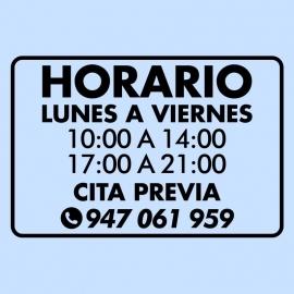 Vinilo - Horario personalizado para tiendas
