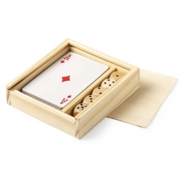 juego de madera personalizado baraja cartas y dados